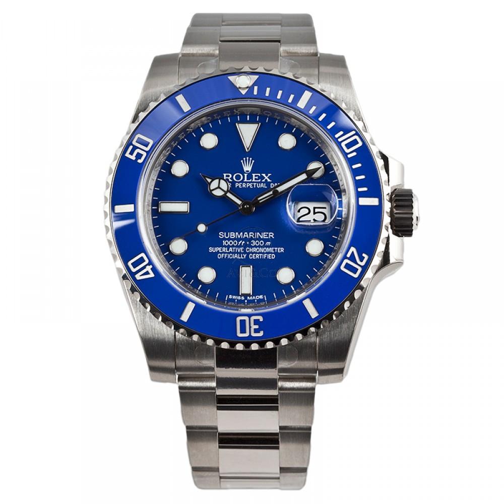 Rolex Submariner 18K White Gold Watch Blue Ceramic Bezel 116619