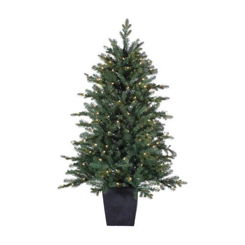 4.5 ft. Pre-Lit Potted Natural Cut Lenox Pine Christmas Tree