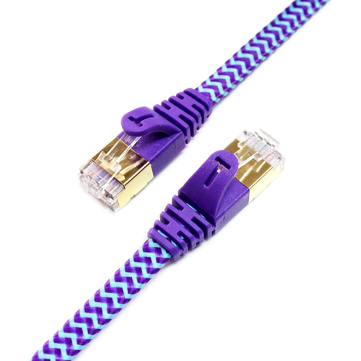 Tera Grand - CAT7 10 Gigabit Ethernet Ultra Flat Patch Cable for Modem Router LAN Network Playstation Xbox - Built with Gold Plated & Shielded RJ45 Connectors, 100 Feet White