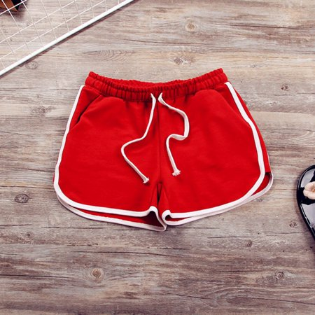 34fa6c56b60 Summer Pants Women Elastic Sports Shorts Gym Workout Waistband Skinny Yoga  Short Red Size M