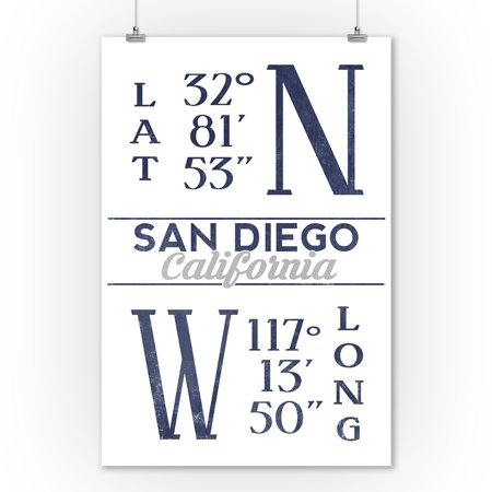 San Diego, California - Latitude & Longitude (Blue) - Lantern Press Artwork (9x12 Art Print, Wall Decor Travel