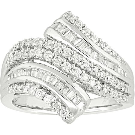1 Carat T.W. Baguette and Round Diamond 10kt White Gold By-Pass Right Hand Ring