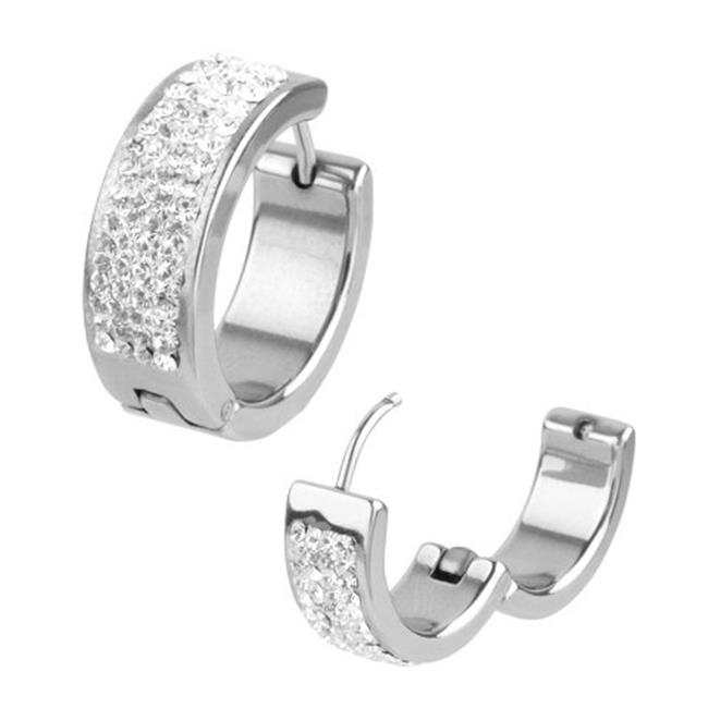 Inox Jewelry SSE5162 Pave Set Cubic Zirconia Stones Huggies Stainless Steel Earrings, Clear by Inox Jewelry