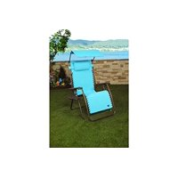 Patio Bliss GRAVITY FREE Chair X-Wide with Sun-Shade and Cup Tray - Sage Green