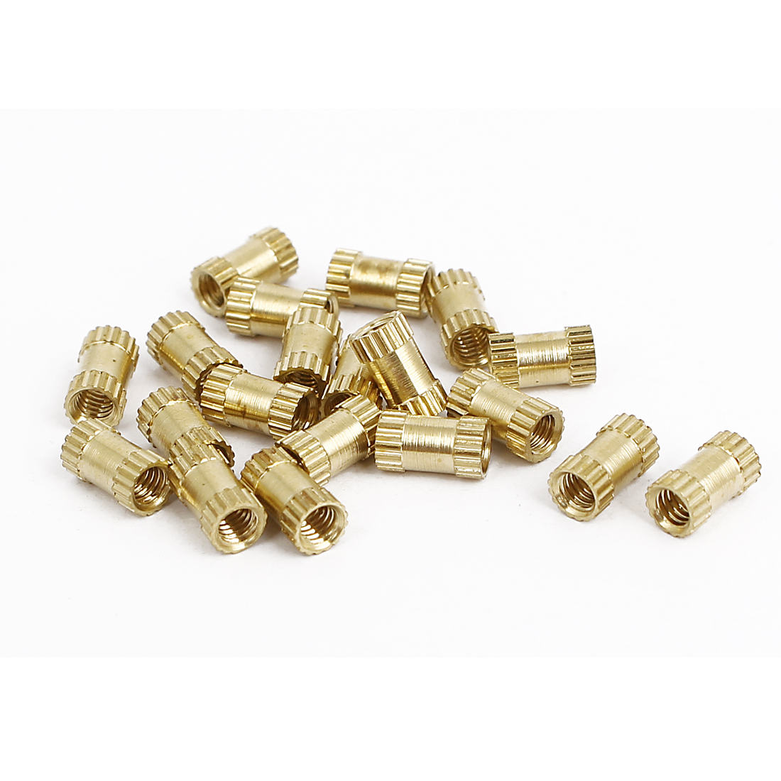 M2.5x6mmx3.5mm Female Thread Brass Knurled Insert Embedded Nuts Gold Tone 20pcs