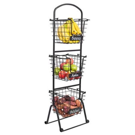 Birdrock Home 3 Tier Wire Market Basket Stand With Chalk Label Fruit Vegetable Produce