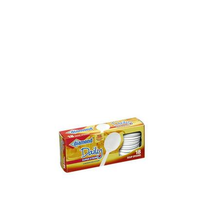 (3 pack) Diamond Heavy Duty Soup Spoons, White, 18