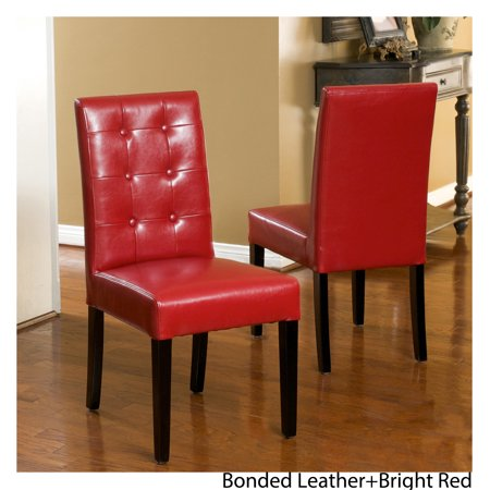 Noble House Randall Red Bonded Leather Tufted Dining Chairs (Set of (Red Leather Chairs Best Price)
