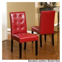 Noble House Randall Red Bonded Leather Tufted Dining Chairs (Set of 2)