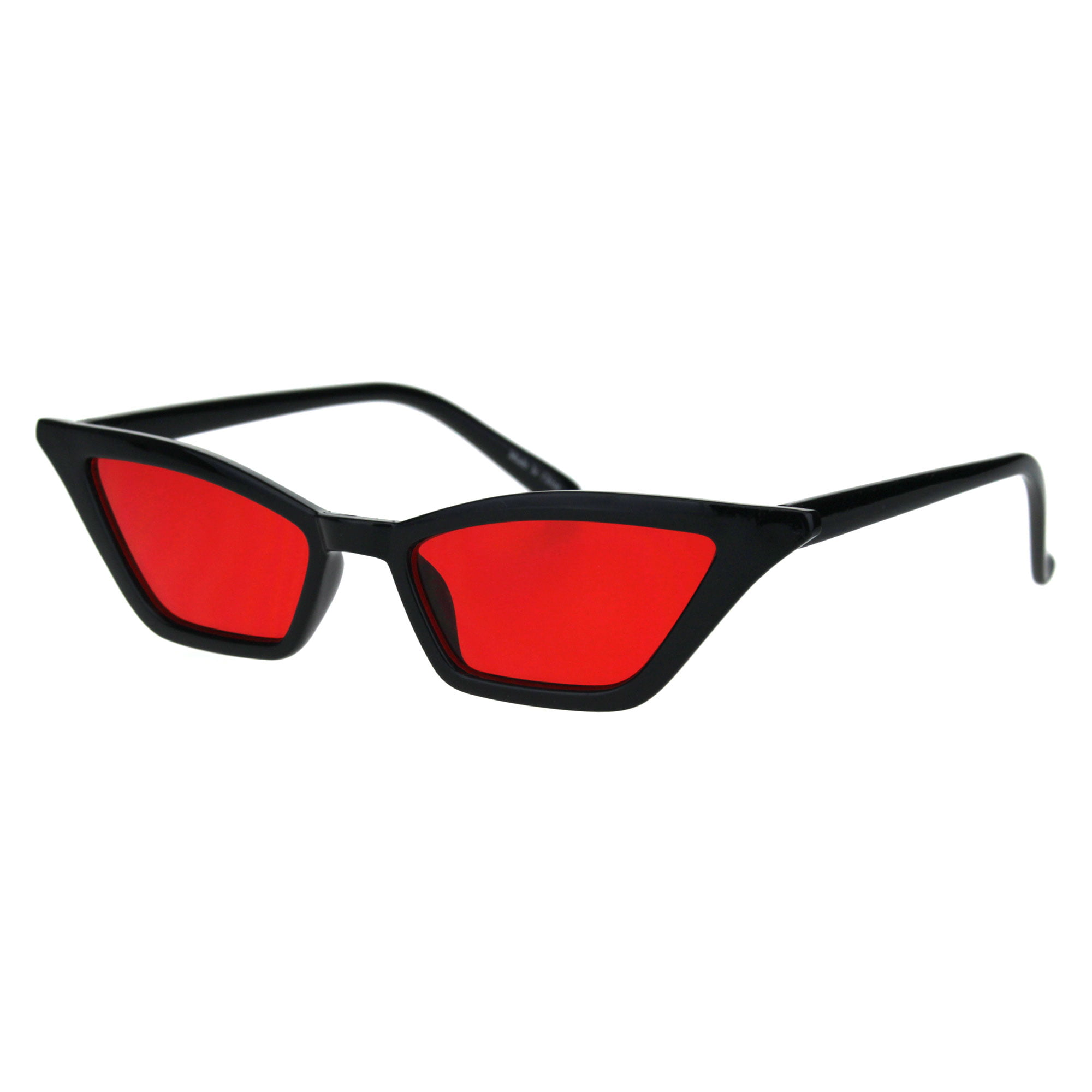 Womens Squared Thin Plastic Minimalist Cat Eye Sunglasses