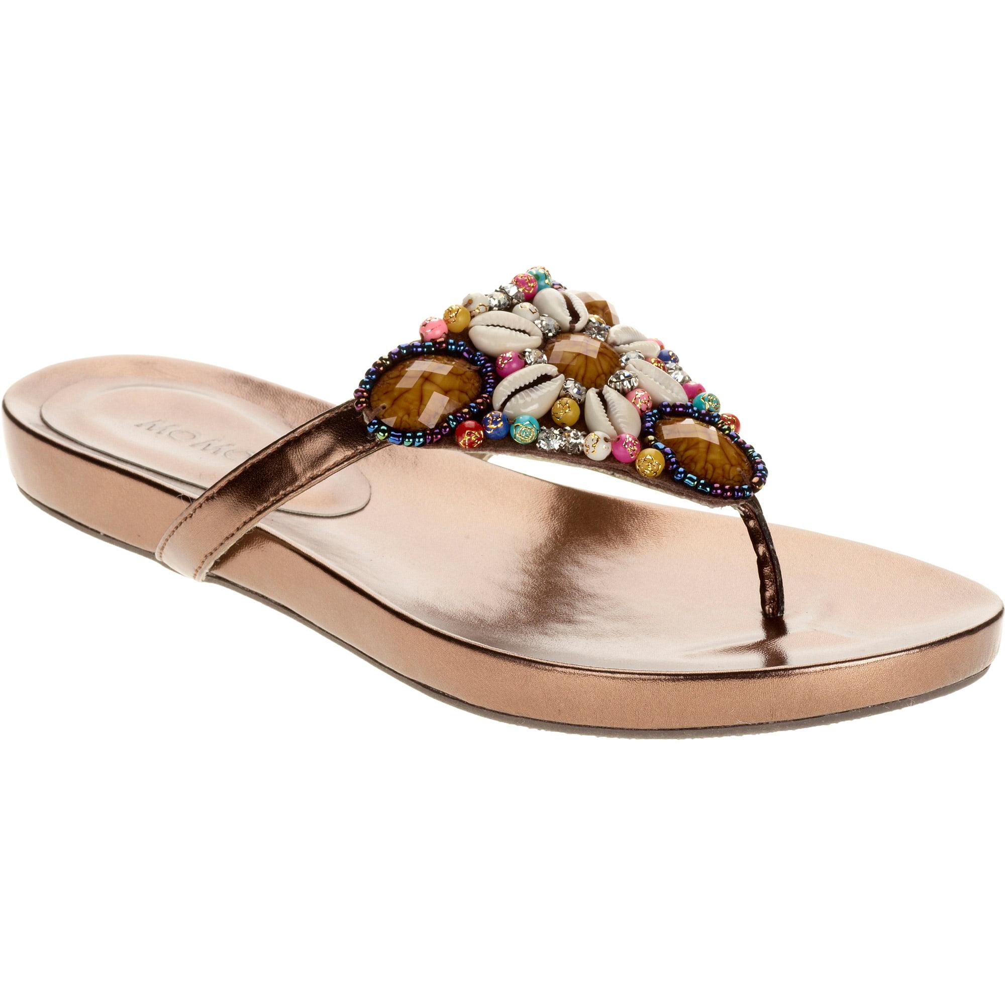 Mo Mo Women's Sunburst Embellished Comfortable Footbed Bottom Thong Sandal