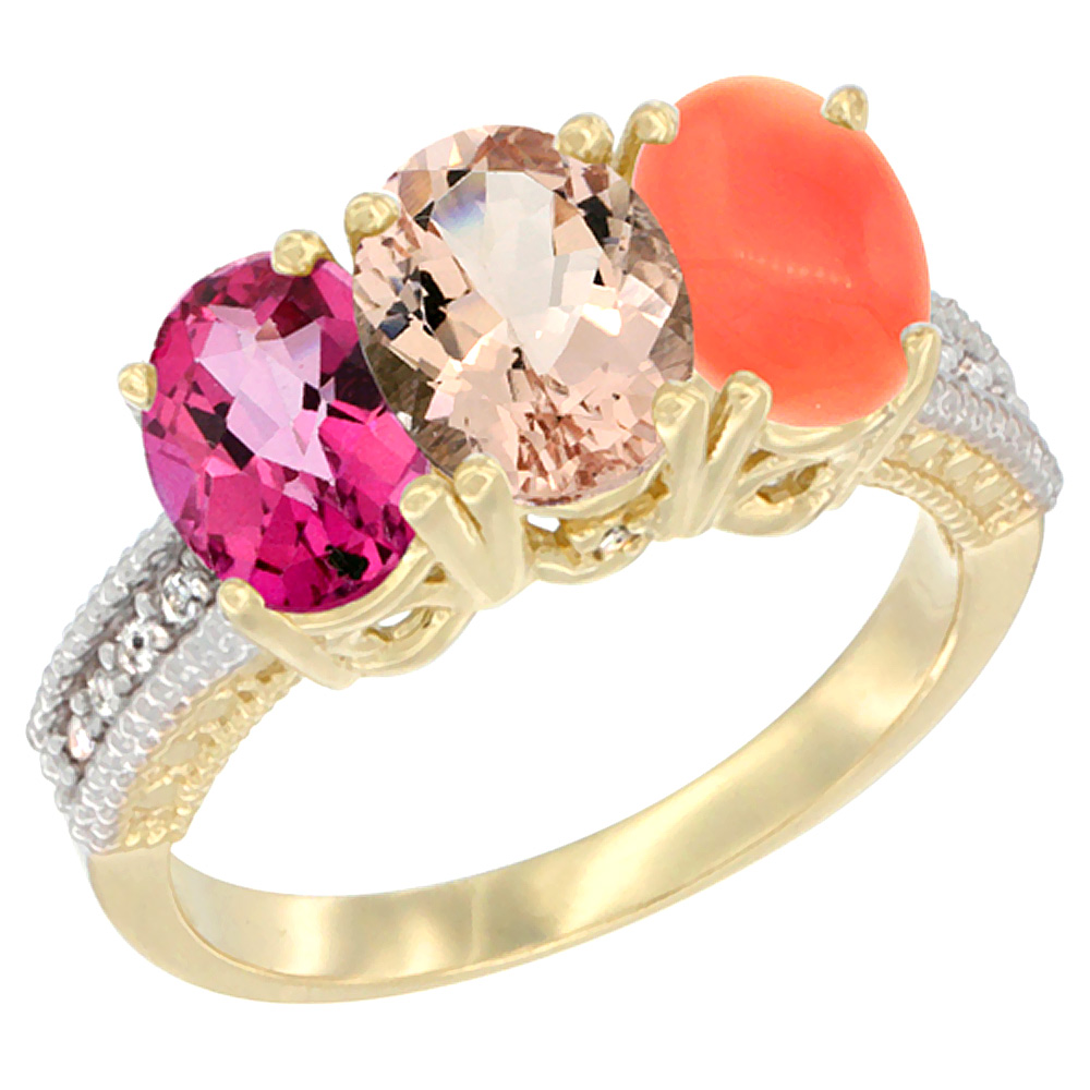 14K Yellow Gold Natural Pink Topaz, Morganite & Coral Ring 3-Stone 7x5 mm Oval Diamond Accent, sizes 5 10 by WorldJewels