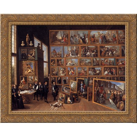 The Archduke Leopold Wilhelm in his Picture Gallery in Brussels 24x20 Gold Ornate Wood Framed Canvas Art by David Teniers the