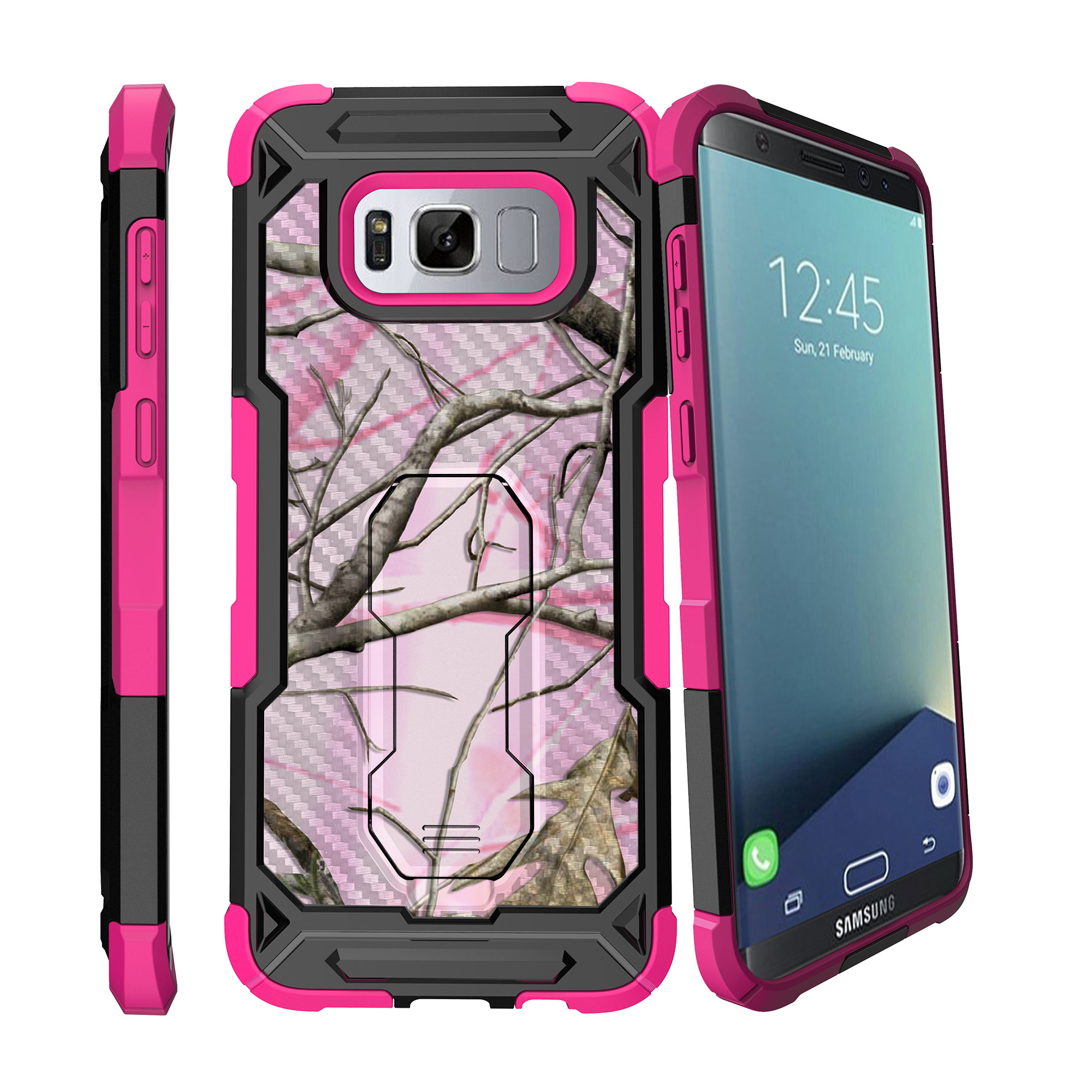 Case for Samsung Galaxy S8 [ UFO Defense Case ][Galaxy S8 SM-G950][Pink Silicone] Carbon Fiber Texture Case with Holster + Stand Camo Collection