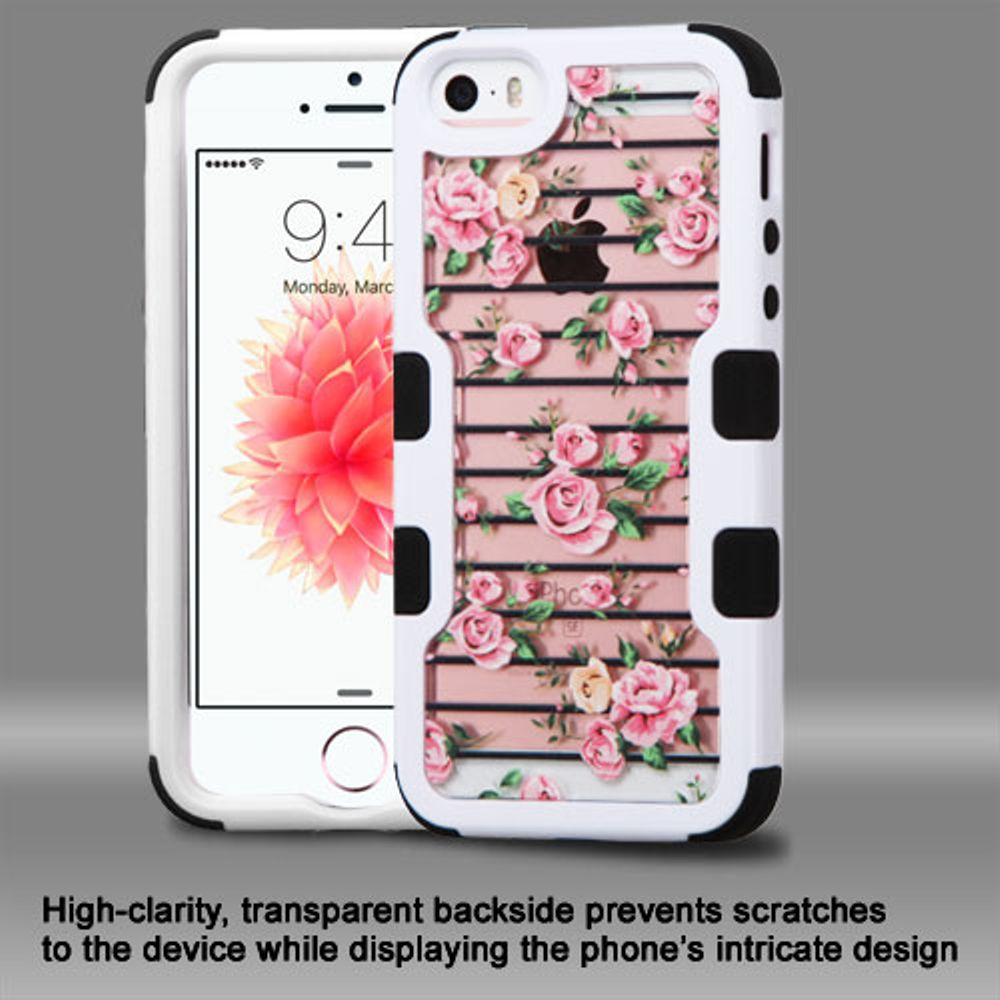Insten Roses Hard Hybrid Rubber Coated Silicone Cover Case For Apple iPhone 5/5S/SE - Pink/White