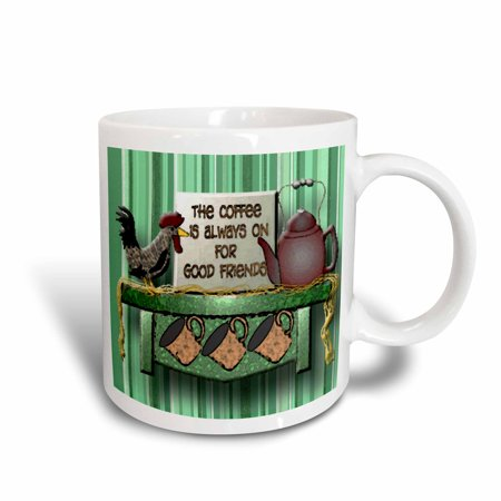 3dRose Coffee and good friends a roaster and teapot on a shelf a great friend gift, Ceramic Mug, 15-ounce