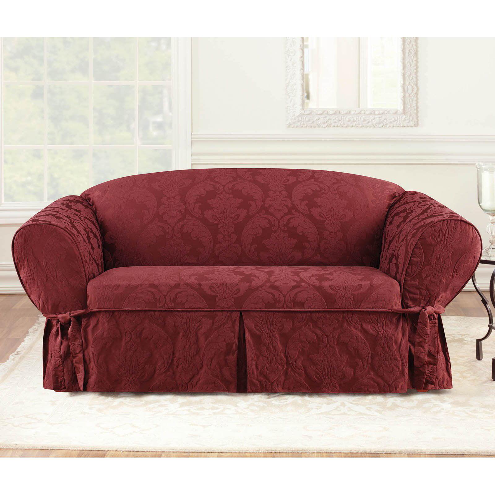 Pleasant Sure Fit Matelasse Damask Sofa Slipcover Theyellowbook Wood Chair Design Ideas Theyellowbookinfo