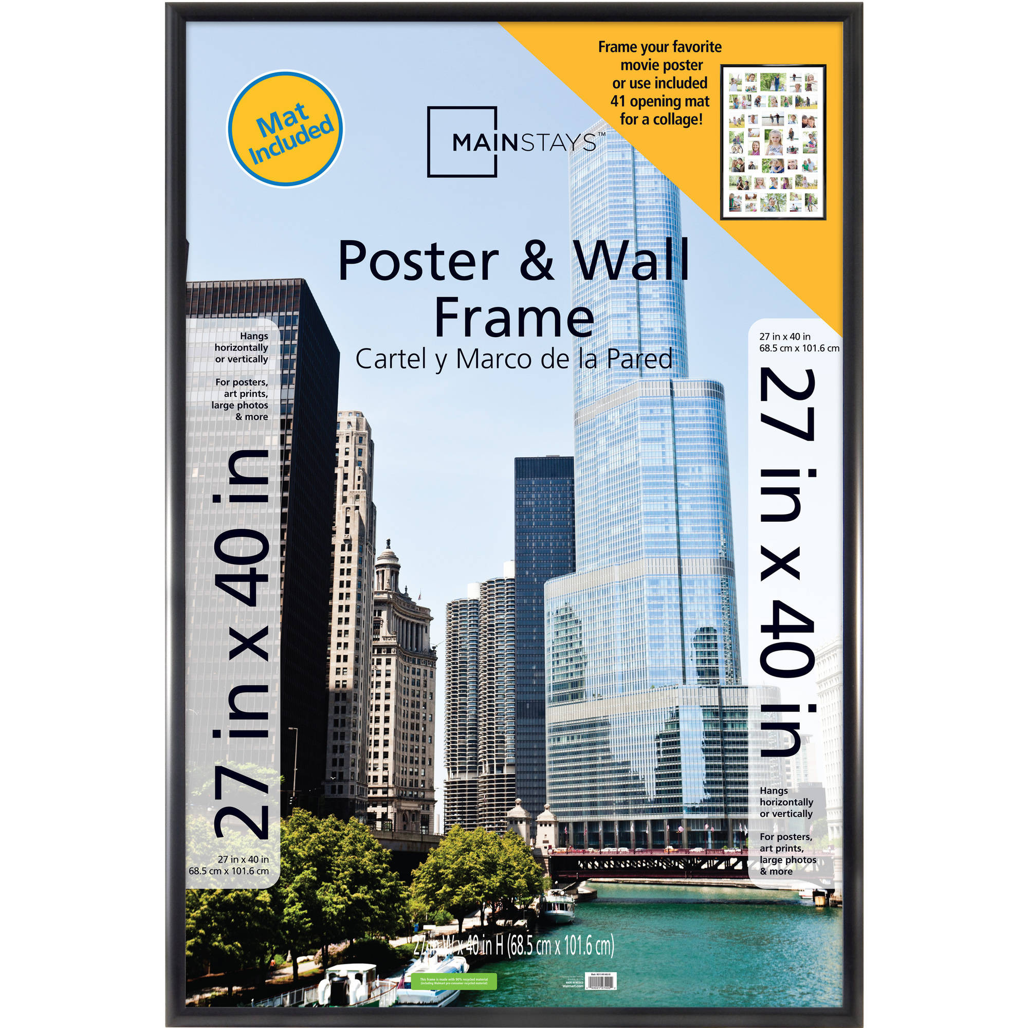 Mainstays 27x40 Trendsetter 41-Opening Collage Mat Poster and Picture Frame, Matte Black