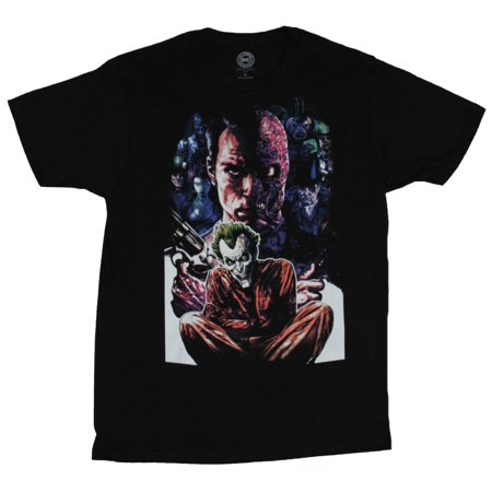 Dc Comics Mens T-Shirt - Two Face Looks Over A Crazy Joker Inmate Image - Joker And Two Face