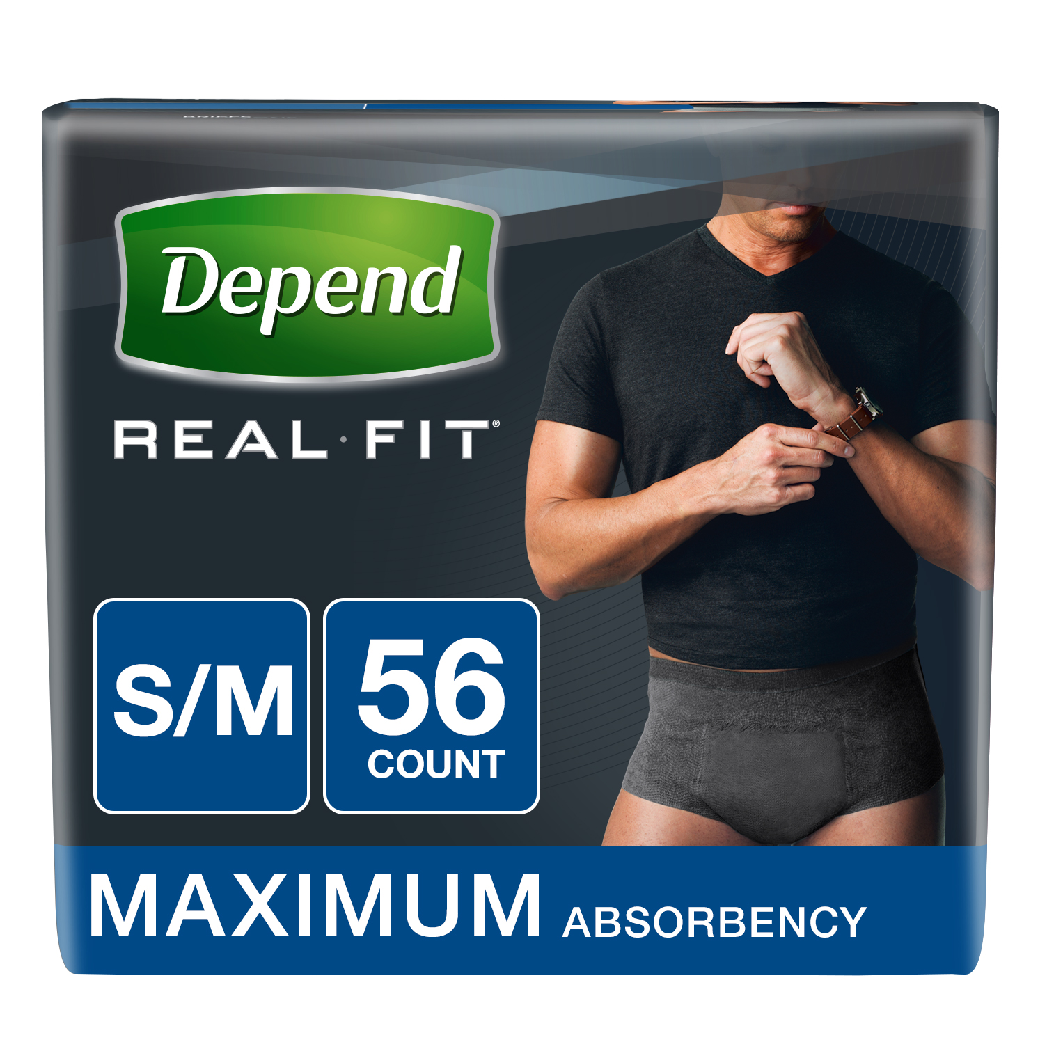 Depend Real Fit Incontinence Briefs for Men, Maximum Absorbency, S/M, Black, 56 count