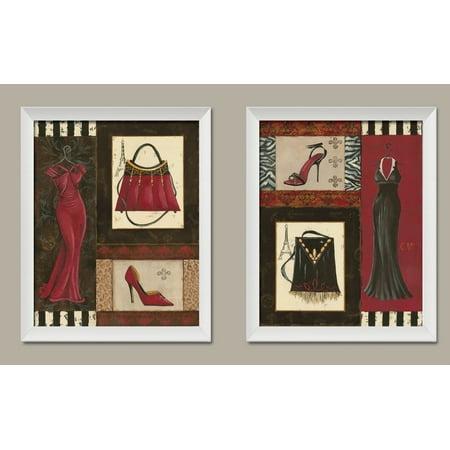 - Fashion Collage; Purse, Shoe, & Dress Retro Prints; Two 11x14 White Framed Prints. Red/Black/Brown