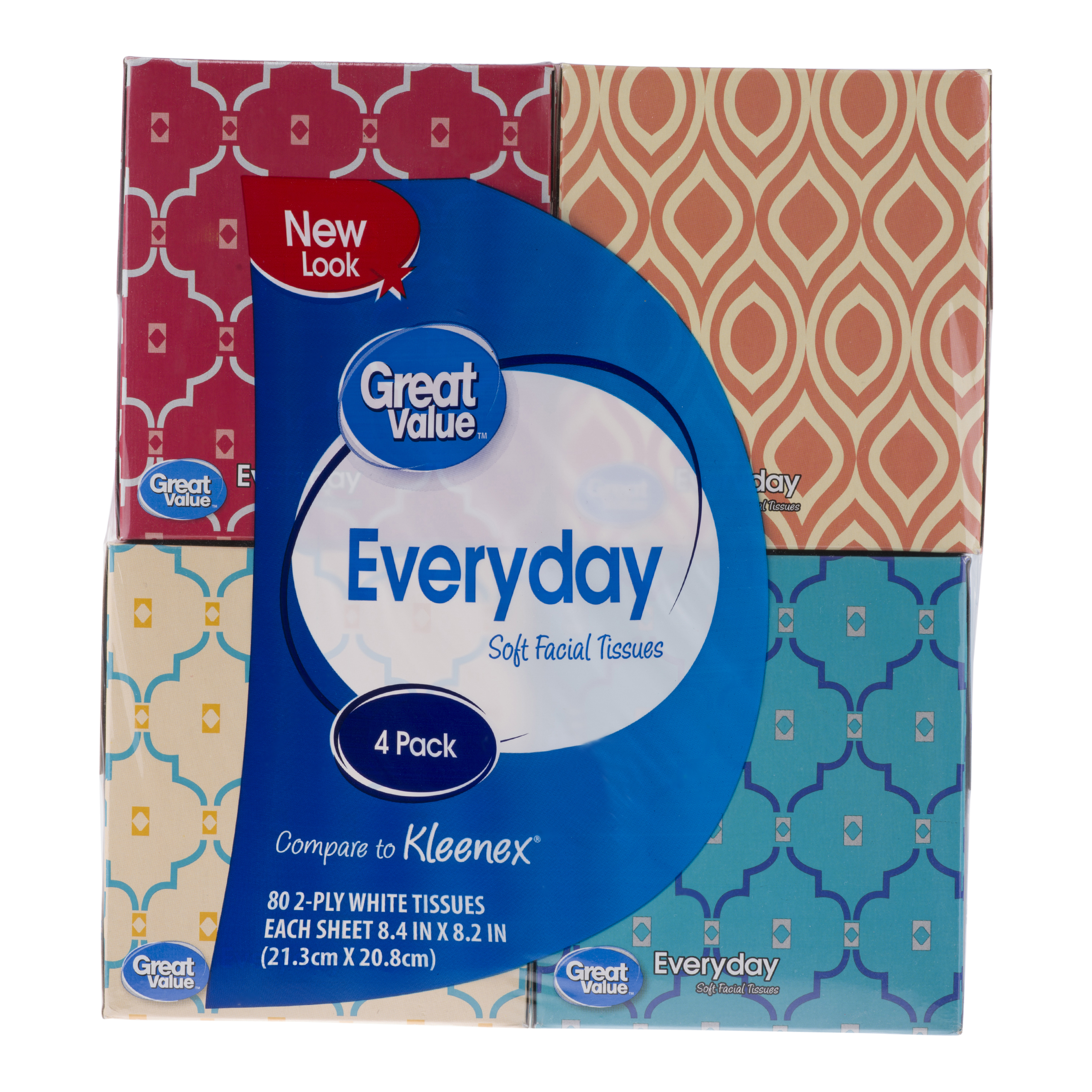Great Value Everyday Soft Facial Tissues, 80 Tissues/Box, 4 Ct