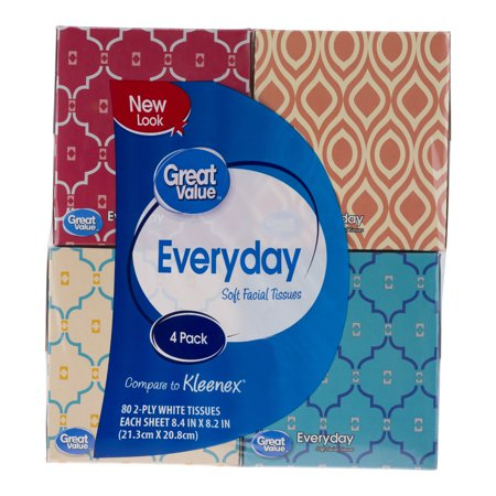 Great Value Everyday Facial Tissues, 320 Sheets, 4 Pack