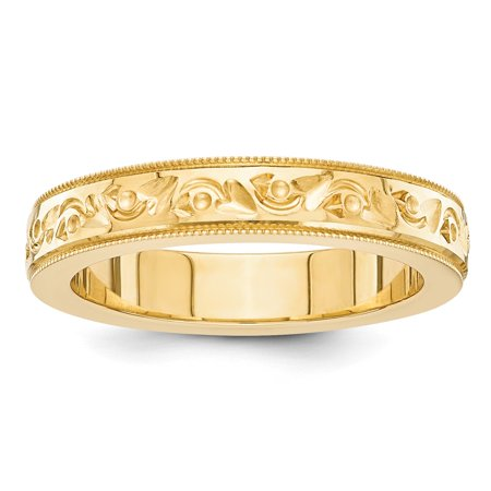 Roy Rose Jewelry 14K Yellow Gold Fancy Hearts Design 5mm Wide Wedding Band Ring Size