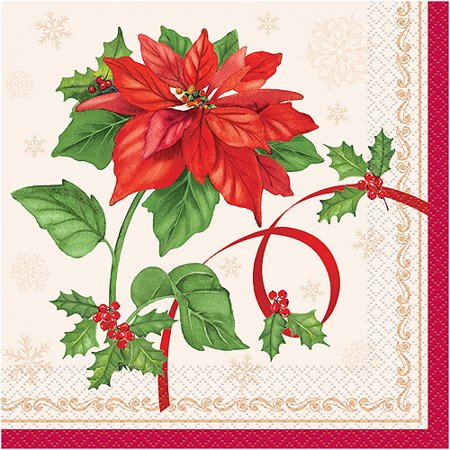 Poinsettia Napkin - Poinsettia Joy Holiday Luncheon Napkins, 16-Count