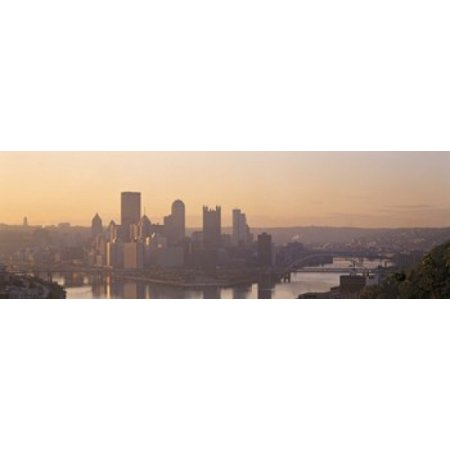 Usa Pennsylvania Pittsburgh Allegheny   Monongahela Rivers View Of The Confluence Of Rivers At Twilight Canvas Art   Panoramic Images  18 X 6