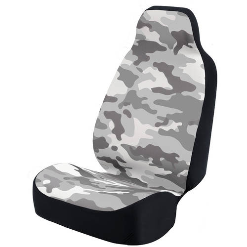 Coverking Universal Seat Cover Fashion Print, Ultra Suede, Camo Grey and White Background with Black Interlock Backing