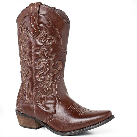 SheSole Ladies Western Cowgirl Cowboy Boot Mid Calf Shoes Brown