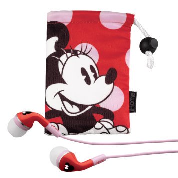 eKids-Minnie-Mouse--Noise-Isolating-Earphones-with-Pouch-by-iHome-DM-M15 - Minnie Mouse Headphones