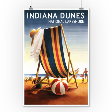 Indiana Dunes National Seashore, Indiana - Beach Chair & Ball - Lantern Press Artwork (9x12 Art Print, Wall Decor Travel Poster)