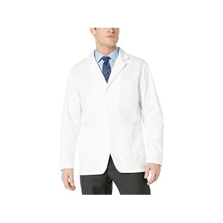 Fashion Seal Healthcare Plus Size Men's Staff Length Lab Coat 4,, White, Size 52 Staff Lab Coat