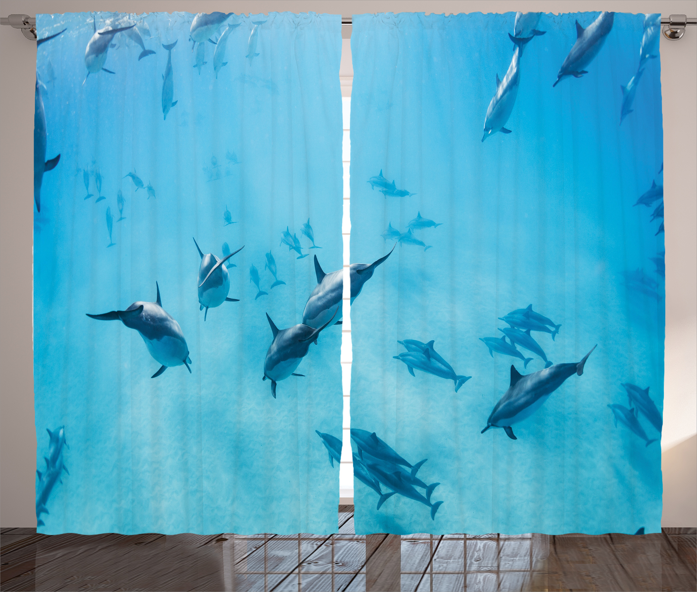Tropical Curtains 2 Panels Set, Group Of Dolphins In Hawaii Wildlife  Underwater Animals Tropical Aquatic