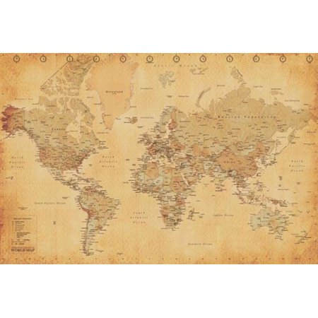 World Map Antique Vintage Educational Continents Globe Atlas Poster   36X24 Inch