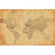 "Vintage Antique Style World Map 36"" x 24"" Poster"