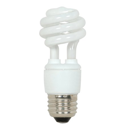 S7212 9-Watt Medium Base T2 Mini Spiral, 4100K, 120V, Equivalent to 40-Watt Incandescent Lamp for Enclosed Fixtures with Energy Star Rated By Satco Ship from US