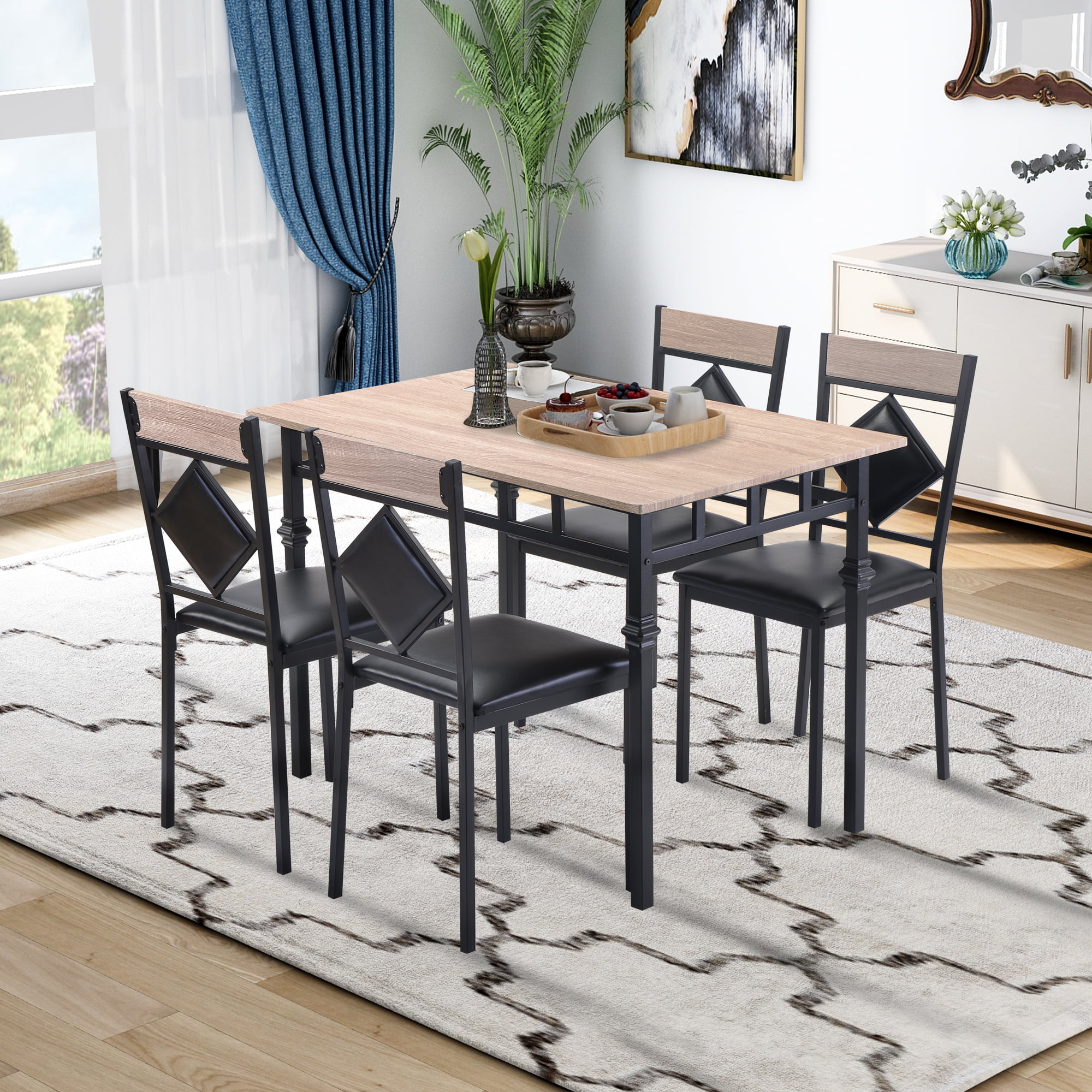 5 Pieces Dining Set Industrial Style, Industrial Style Dining Room Chairs