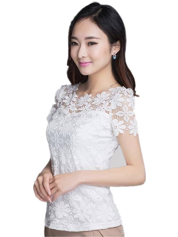 Women Lace Floral Soft Casual Crochet Short Sleeve T-shirt