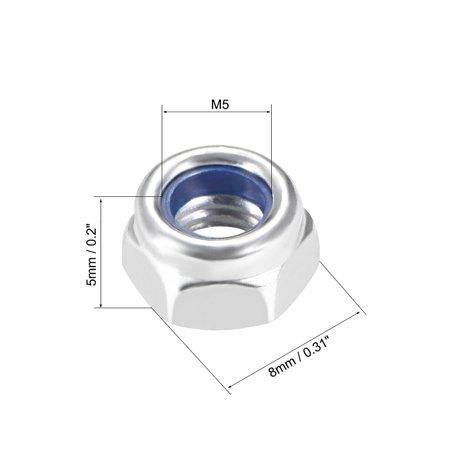 M5 x 0.8mm Nylon Insert Hex Lock Nuts, Carbon Steel White Zinc Plated, 50 Pcs - image 1 de 3