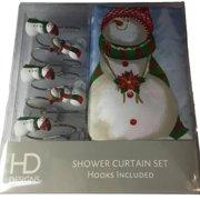 Winter Wonderland Snowman Fabric Shower Curtain & Hook Holiday Set