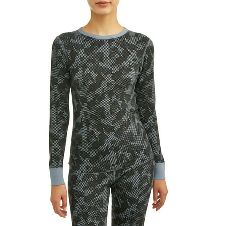 Hanes Women's X-Temp Thermal Waffle Printed Crew Top With FreshIQ