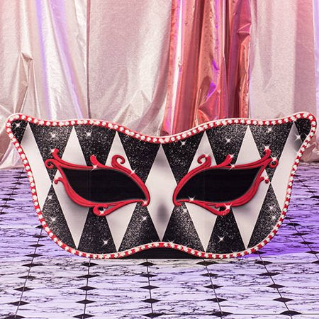 Red Harlequin Masquerade Mask Standee