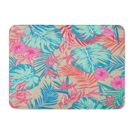 SIDONKU Vivid Tropical Pattern Flowers Monstera Areca Palm Leaf Hibiscus Doormat Floor Rug Bath Mat 30x18 -