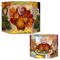 """Pack of 6 Double Sided Live Turkey and Roasted Turkey Thanksgiving Stand Up Photo Prop 36"""""""