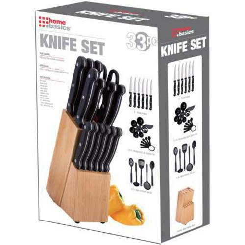 33-Piece Knife Set with Wooden Block