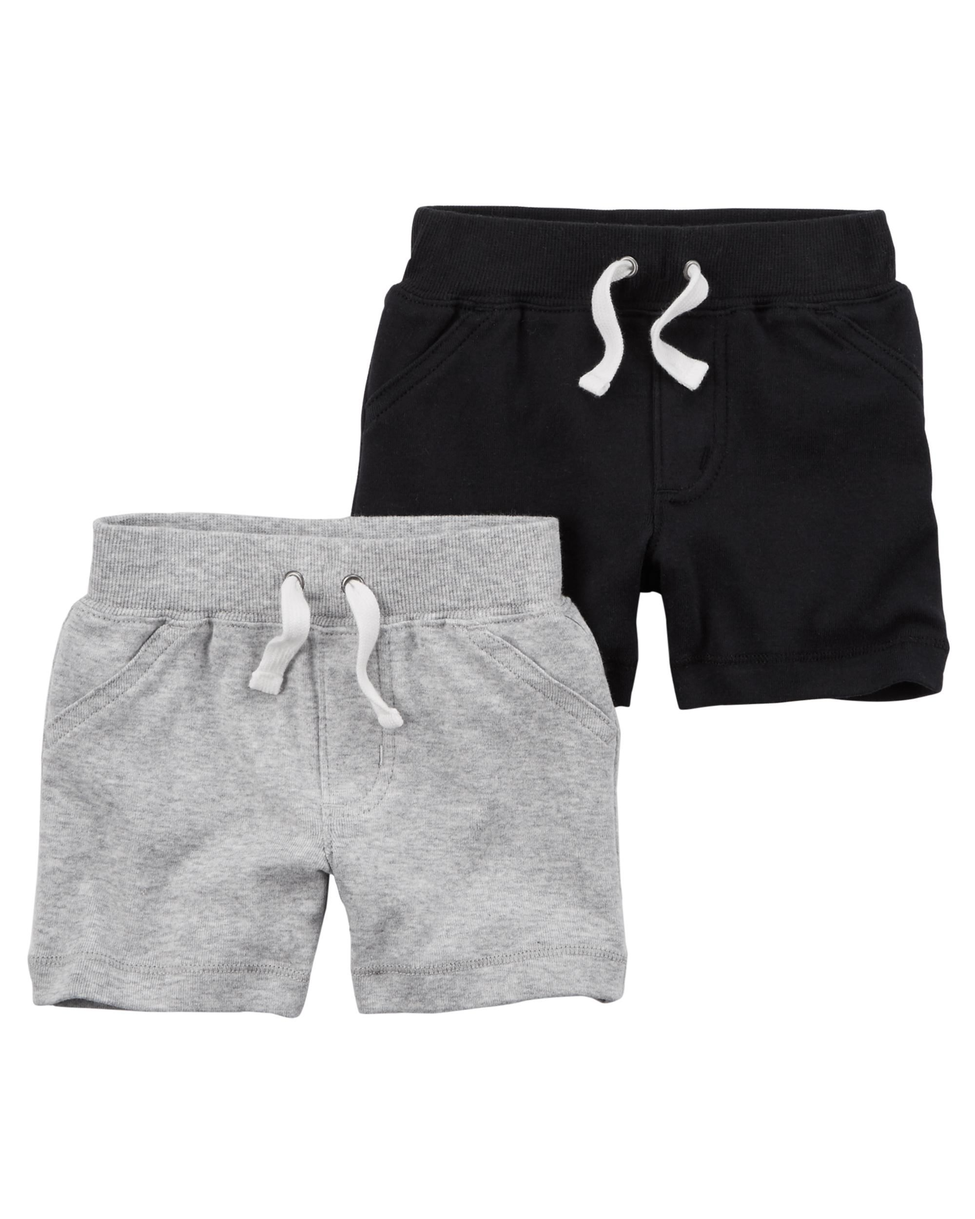 Carter's Baby Boys' 2 Pack Shorts- Black/Grey -Newborn