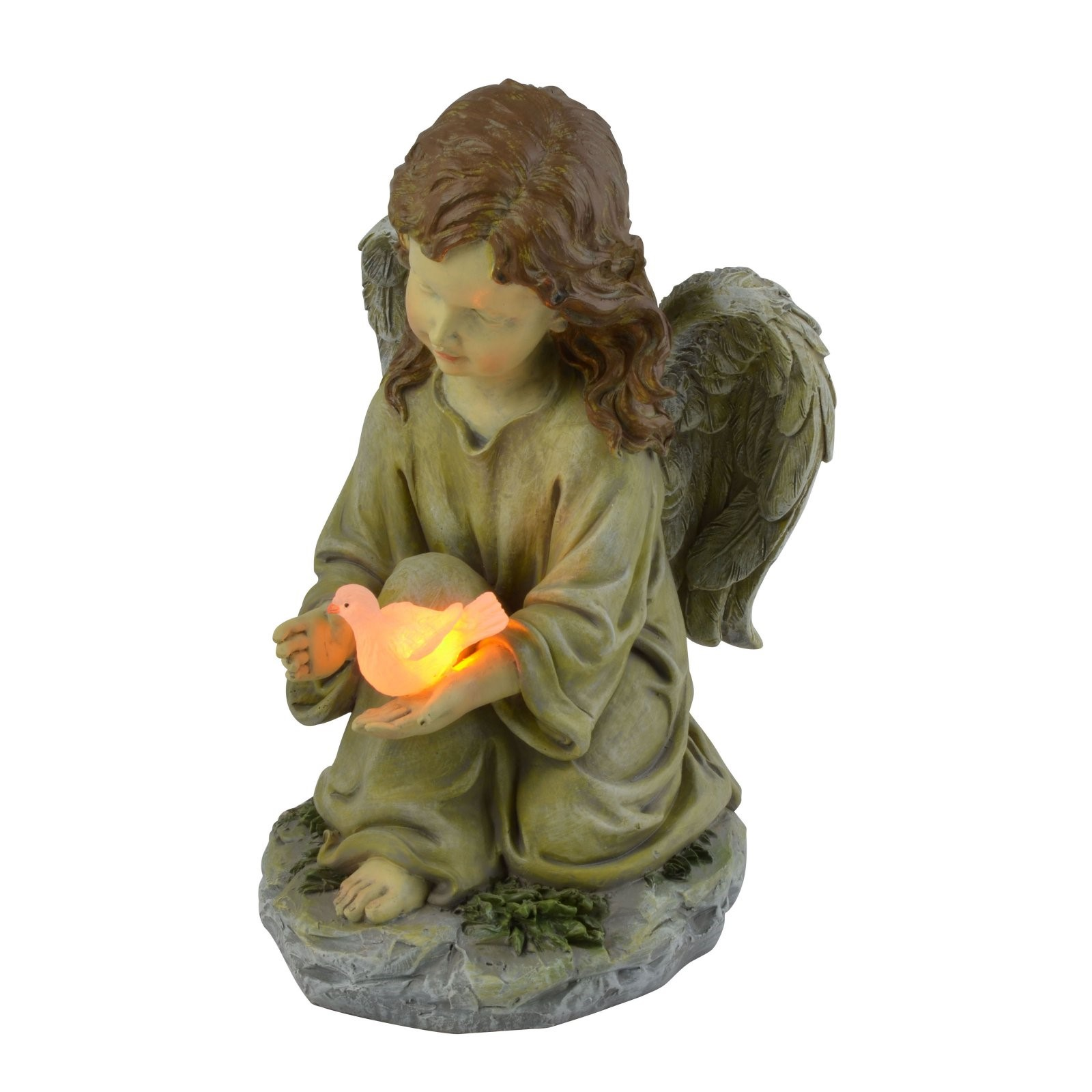 Moonrays Solar Powered LED Angel with Dove Statue